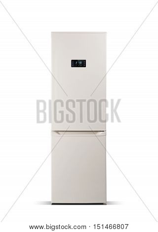 Beige refrigerator isolated on white. The external LED display, with blue glow. Fridge freezer