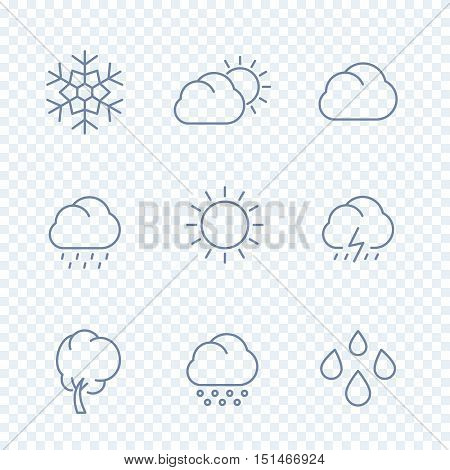 Weather icons, sunny, cloudy day, rain, snowflake, hail, wind, sun, snow isolated linear icons, vector illustration