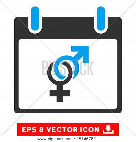 Marriage Calendar Day icon. Vector EPS illustration style is flat iconic bicolor symbol, blue and gray colors.