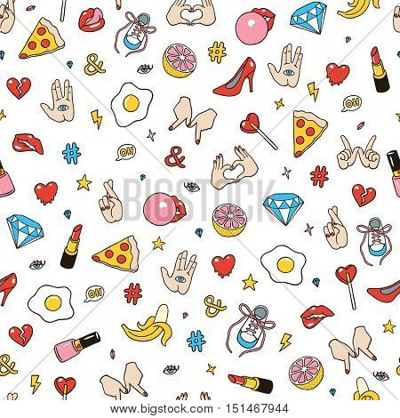 Seamless pattern made of fashion sketchy patches. Different trendy badges and pins. Oldschool vector pictograms in line-art style with 90's colors. Hearts, hands, fruits, hashtags and diamonds icons.