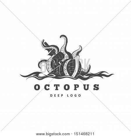 Giant evil kraken absorbs commercial sailing ship, silhouette octopus sea monster with tentacles for logo and t-shirt print or seafood mascot label, ocean life concept, simple detailed black vector illustration