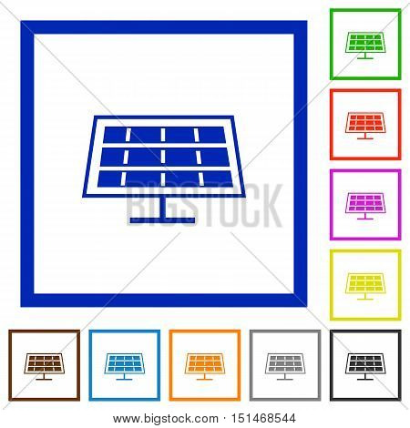 Set of color square framed solar panel flat icons