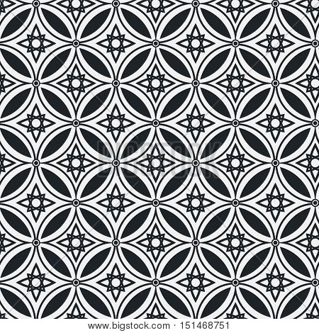 Abstract ethnic geometric vector monochrome seamless pattern on a light background . EPS 10.