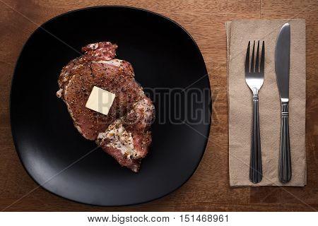 Raw Pork Steak Still Life On Wooden Background