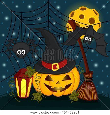 pumpkin in  eve halloween night - vector illustration eps