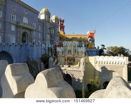 SINTRA, PORTUGAL -Pena Palace in Sintra, Portugal, as seen on September 30, 2016. The palace is a UNESCO World Heritage Site and one of the Seven Wonders of Portugal