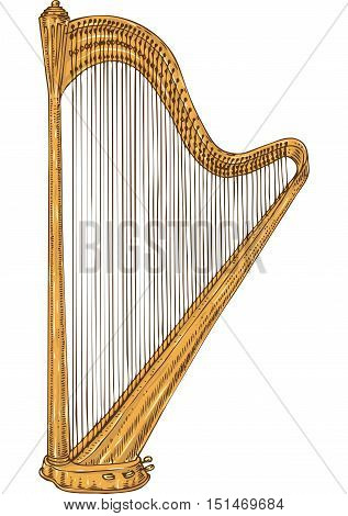 Musical Instrument. Golden Harp. Isolated on a White