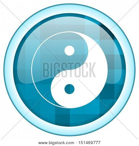 Blue circle vector ying yang  icon. Round internet glossy button. Webdesign graphic element.