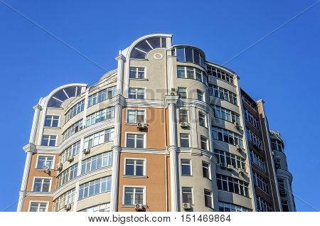 Top of of modern high-rise residential building in Odessa Ukraine