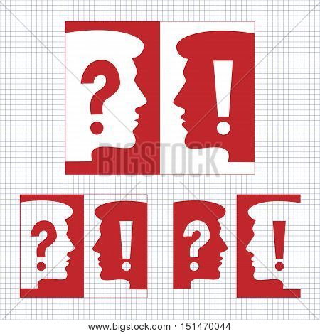 Exclamation and question mark sign icon and head silhouette.  Attention speech symbols. Vector illustration.