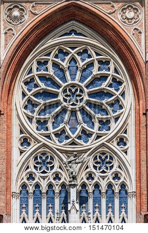Rosette With Stained Glass On The Front Of The Catedral In La Plata, Argentina