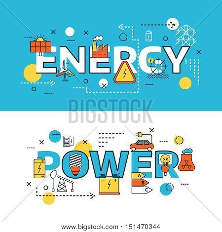 Two horizontal energy Sources banner set with big headlines energy and power vector illustration