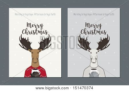 Greeting card: Merry Christmas. Creative card with moose. Can be use for business shopping gift voucher customer sale promotion layout banner web design and print for jersey or t-shirt