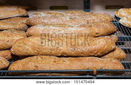 Great multigrain bread on a counter in the store
