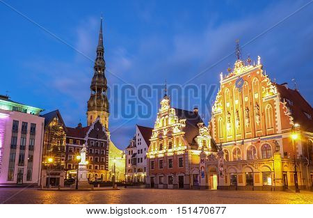 St. Peter's Church and the House of the Blackheads. Riga, Latvia, Europe