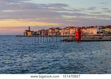 Sunset view on the coastline in Piran. Piran is one of Slovenia's major tourist attractions,Piran, Slovenia.