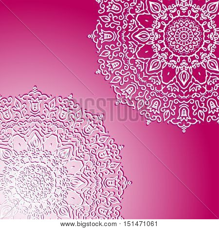 pink mandala template for cards with a circular ornament and place for your text