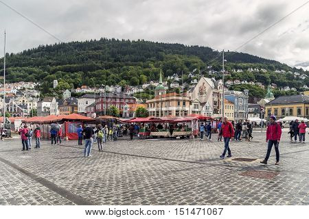 BERGEN, NORWAY - JULY 3, 2016: This is fish market which is one of the main attractions of the city where every morning brought fresh seafood just a couple of hours ago.