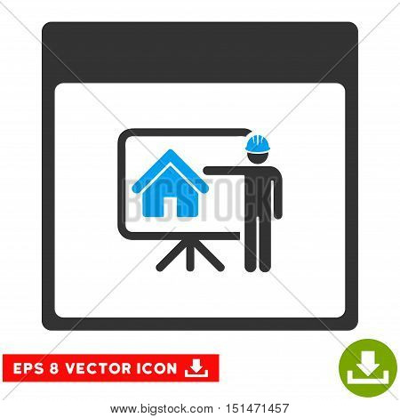 Realty Developer Calendar Page icon. Vector EPS illustration style is flat iconic bicolor symbol, blue and gray colors.
