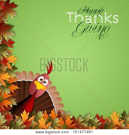 an illustration of Funny turkey for Thanksgiving