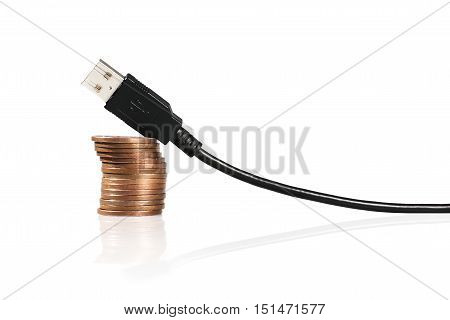 Cable Connector Micro-usb To Usb On White Background