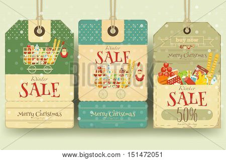 Christmas Supermarket Sale Tags in Retro Style. Winter Sell-out Labels Collection. Vector Illustration.