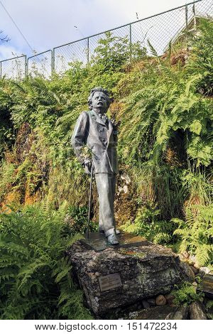 TROLDHAUGEN, NORWAY - JULY 3, 2016: This is a monument to the composer Edvard Grieg in full size installed at his estate in a modern concert hall Trolsalen