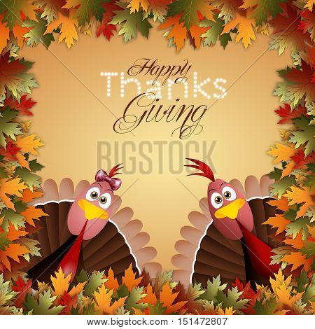 an illustration of Funny turkeys for Thanksgiving