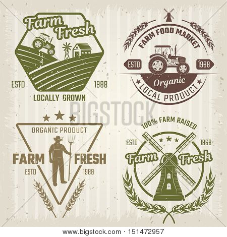 Farm retro style logos with fields windmill tractor wheat and stars on textured background isolated vector illustration