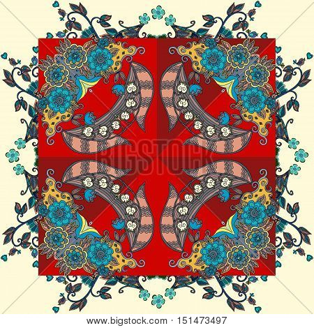 Decorative floral ornament with roses and lily of the valley. Bandana print. Lovely tablecloth or napkin. Vector illustration.