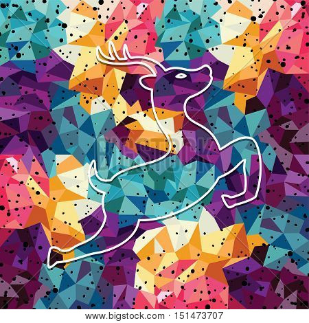 deer colorful mosaic pattern designed using mosaic pattern graphic vector