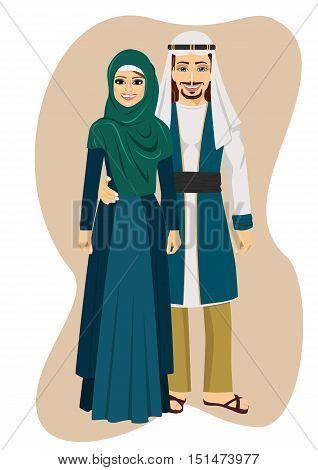 Arab muslim couple man and woman standing vector illustration