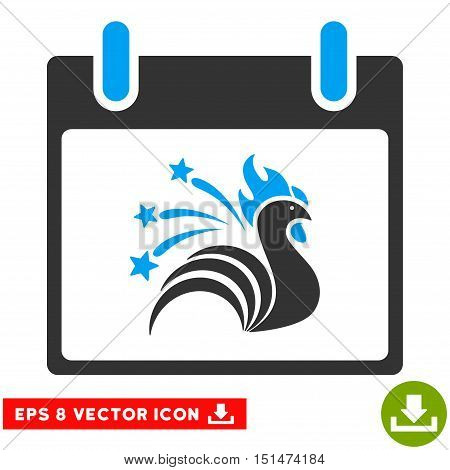 Sparkle Rooster Calendar Day icon. Vector EPS illustration style is flat iconic bicolor symbol, blue and gray colors.