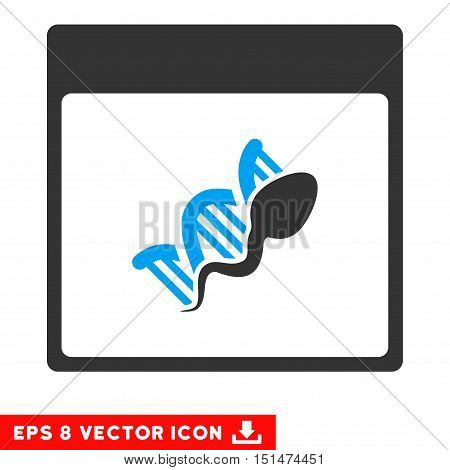 Sperm DNA Replication Calendar Page icon. Vector EPS illustration style is flat iconic bicolor symbol, blue and gray colors.