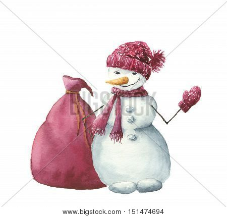 Watercolor snowman with christmas gift bag. Hand painted winter illustration isolated on white background. For design, background or print.