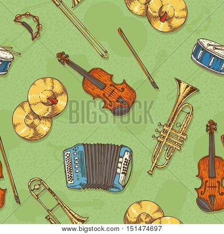 Seamless Vector Pattern With Musical Instruments on a Green Background