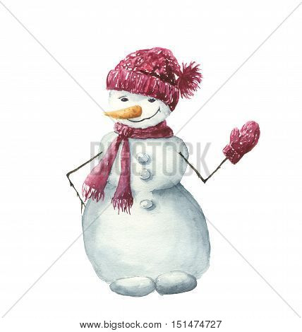 Watercolor snowman in hat, scarf and mittens. Hand painted winter illustration isolated on white background. For design, background or print.
