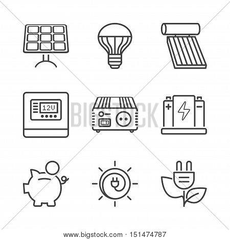 basic solar energy equipment thin line icon set isolated. black color
