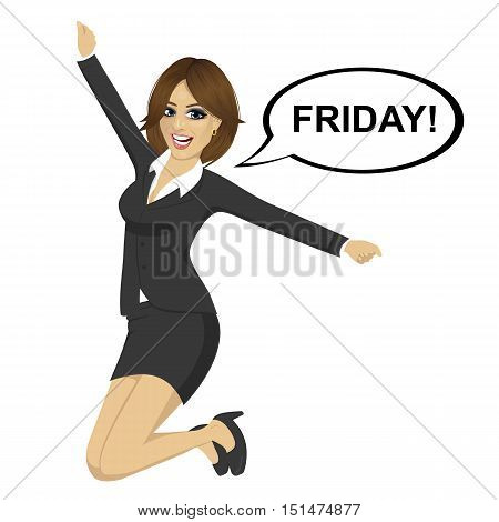 Young businesswoman jumping happy with friday text on a speech bubble