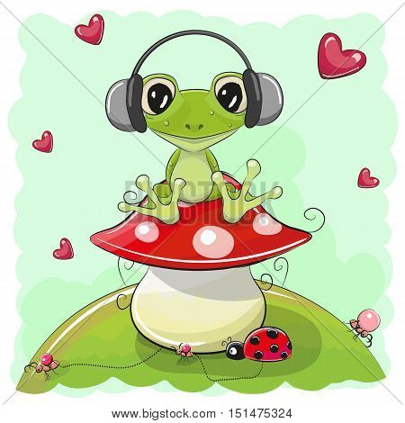 Cute cartoon Frog with headphones on the meadow