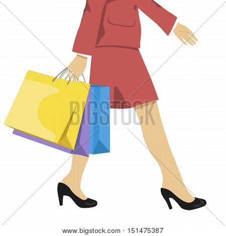 woman with shopping bags, lower half waist down illustration of legs in high heels and the colorful shopping bags.