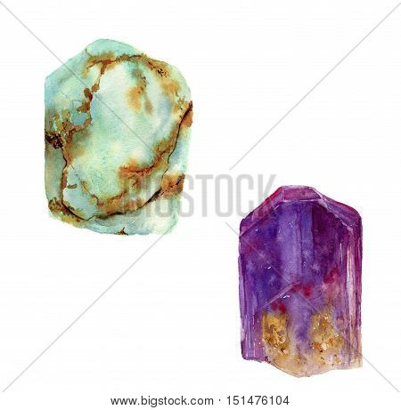 Watercolor gem set. Jade turquoise and amethyst stones isolated on white background. For design, prints or background