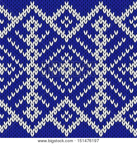 Knitting Seamless Ornate Pattern In Blue And White Colors