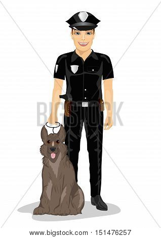 Policeman standing with police dog smiling over a white background