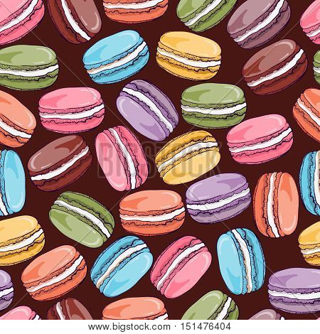 Vector seamless pattern with cute colorful macaroons cookies.Hand drawn macaroon design