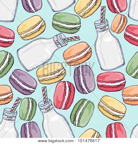 Vector seamless pattern with cute colorful macaroons and bottle of milk. Hand drawn macaroon design.