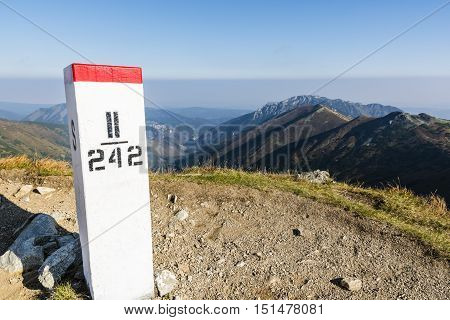 Boundary marker on the border between the Polish and Slovakia in the Tatra mountains ..