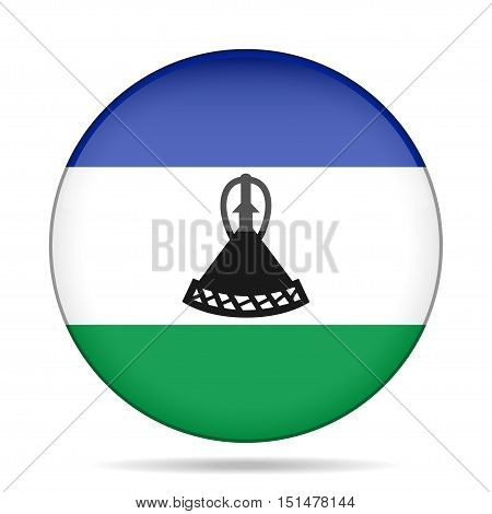 National flag of Lesotho. Shiny round button with shadow.