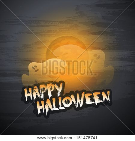 Happy Halloween Card Template - Flying Ghosts Over the Autumn Fogs - Vector Illustration