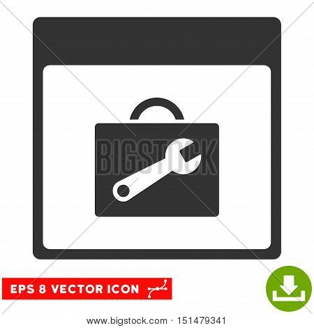 Toolbox Calendar Page icon. Vector EPS illustration style is flat iconic symbol, gray color.